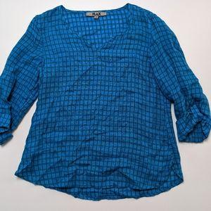 FLAX Blue Women's Linen Top Blouse Small